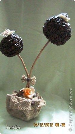Вот такое небольшое кофейное дерево сделала я  на днях или можно сказать кончила,так как начала я его уже давненько и что то никак не могла кончить,но наконец то оно уже готово!Получилось довольно простенько,но  я так и хотела . Низ одет в мешковину,уж очень я ее люблю ! фото 1