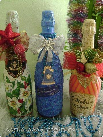 Люблю оформлять бутылочки. Как  же Новый год без такой красоты , вот что получилось. фото 2
