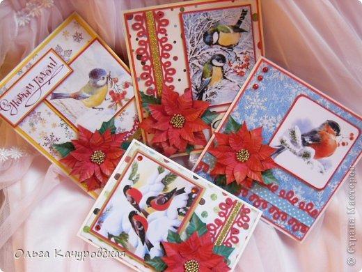Открытка Новый год Рождество Ассамбляж Вырезание Квиллинг Новогодние открытки  Бисер Бумага Бусинки Клей Кружево Ленты фото 2