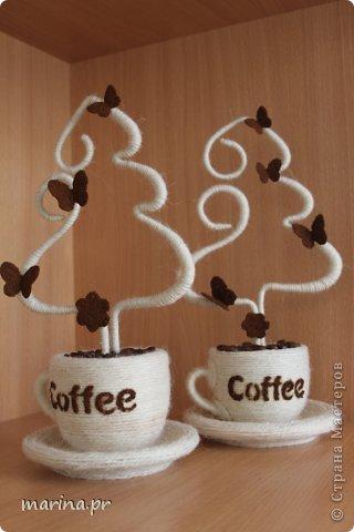 Бонсай топиарий Новый год Приятно дарить подарки Кофе Нитки фото 2