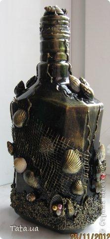 Здравствуйте! Выставляю на Ваш суд бутылочки по технике Пейп-Арт и уже полюбившийся мне морской тематике. фото 9