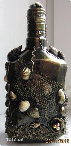 Здравствуйте! Выставляю на Ваш суд бутылочки по технике Пейп-Арт и уже полюбившийся мне морской тематике. фото 7