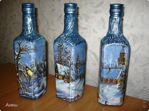 Декор бутылок новогодние своими руками фото