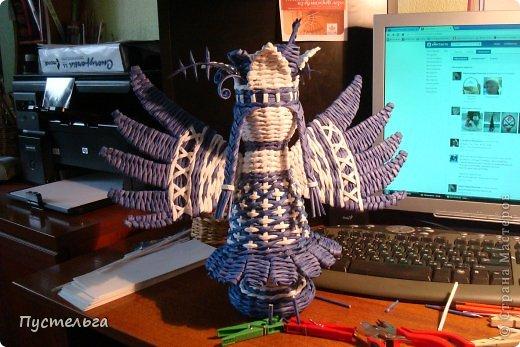Поделка изделие Плетение Птица лесная голубица Бумага Трубочки бумажные фото 16