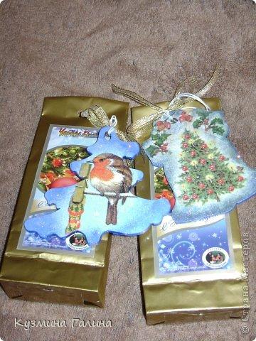 Для своих коллег к Новому году приготовила и подарила небольшие подарочки.Деревянные заготовки,перегоревшие лампочки,салфетки-всё пошло в дело. фото 7