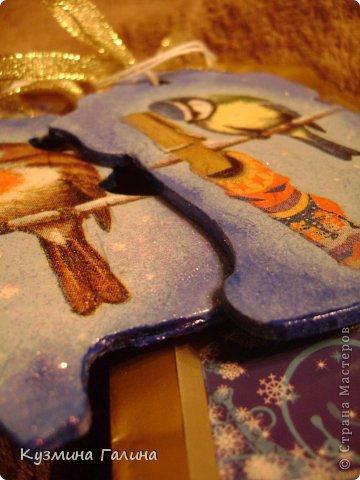 Для своих коллег к Новому году приготовила и подарила небольшие подарочки.Деревянные заготовки,перегоревшие лампочки,салфетки-всё пошло в дело. фото 9