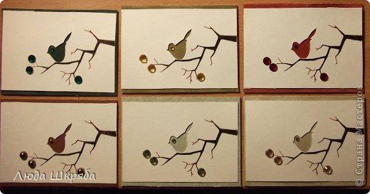 Основа - бархатный картон (кроме 5 и 6 - просто картон), веточка - нарисована, птичка вырезана  (техника вытынанка), цветы - полубусины фото 1