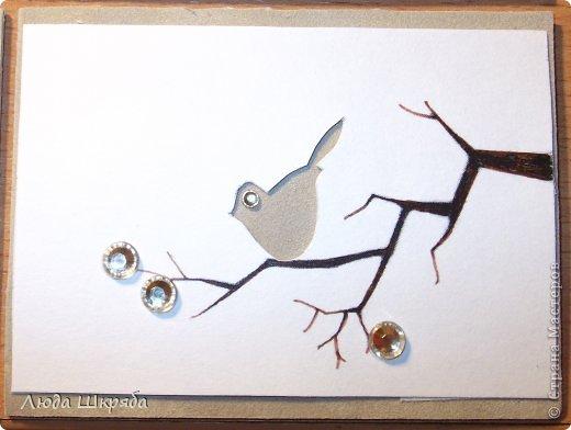 Основа - бархатный картон (кроме 5 и 6 - просто картон), веточка - нарисована, птичка вырезана  (техника вытынанка), цветы - полубусины фото 7