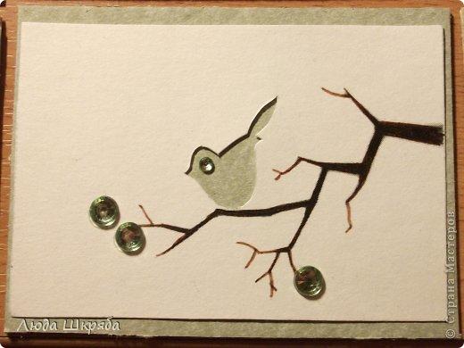 Основа - бархатный картон (кроме 5 и 6 - просто картон), веточка - нарисована, птичка вырезана  (техника вытынанка), цветы - полубусины фото 9
