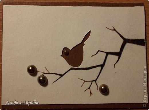 Основа - бархатный картон (кроме 5 и 6 - просто картон), веточка - нарисована, птичка вырезана  (техника вытынанка), цветы - полубусины фото 10