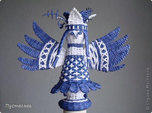 Поделка изделие Плетение Птица лесная голубица Бумага Трубочки бумажные фото 1