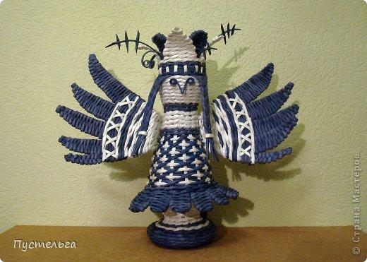 Поделка изделие Плетение Птица лесная голубица Бумага Трубочки бумажные фото 17