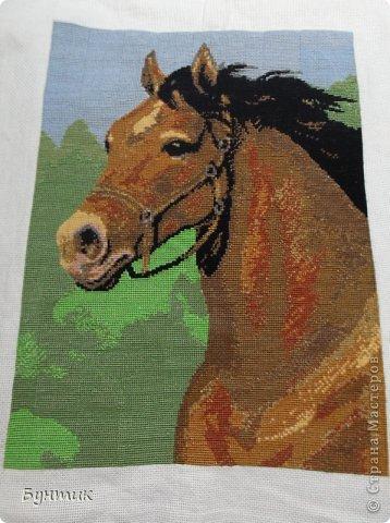 последняя вышивка.очень люблю лошадей....(30на40) фото 1