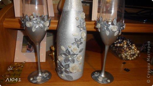 Вот и я в первый раз решилась задекорировать бокалы и бутылку к 25-летнему юбилею моих дорогих друзей фото 2