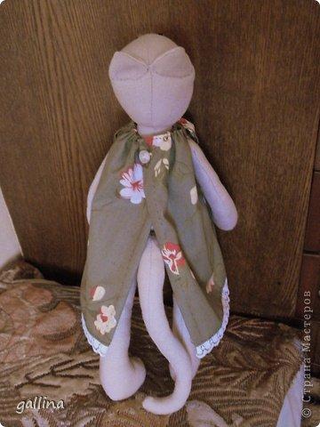 Кошка-тильда. Пошита из...ой, были такие летние брючки... но малы... а цвет такой подходящий... А платье из бязи, кофта из флиса. фото 4