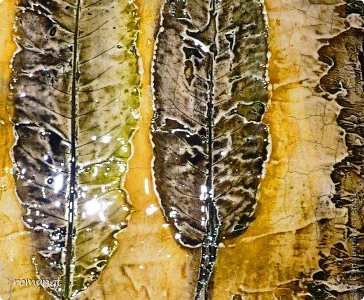 Картина панно рисунок Праздник осени Гравировка Лепка Отпечатки листьев Картина Листья из сада в технике отпечатка Глина Гуашь Листья фото 6