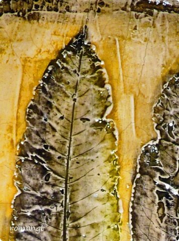 Картина панно рисунок Праздник осени Гравировка Лепка Отпечатки листьев Картина Листья из сада в технике отпечатка Глина Гуашь Листья фото 3
