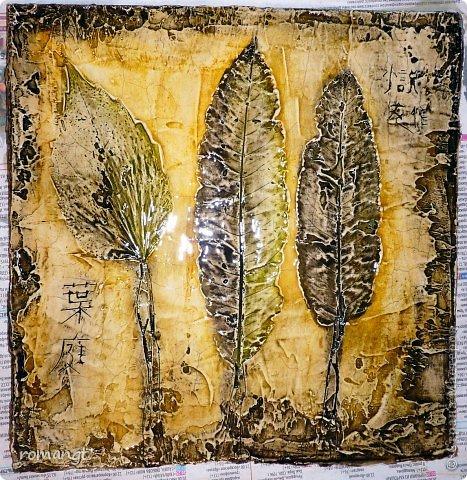Картина панно рисунок Праздник осени Гравировка Лепка Отпечатки листьев Картина Листья из сада в технике отпечатка Глина Гуашь Листья фото 1