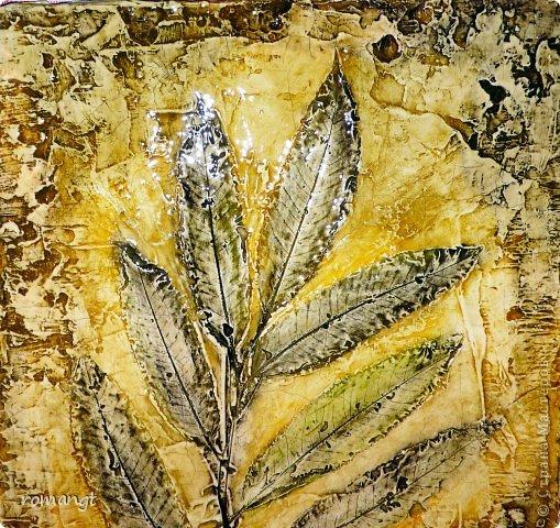 Картина панно рисунок Праздник осени Гравировка Лепка Отпечатки листьев Картина Листья из сада в технике отпечатка Глина Гуашь Листья фото 8