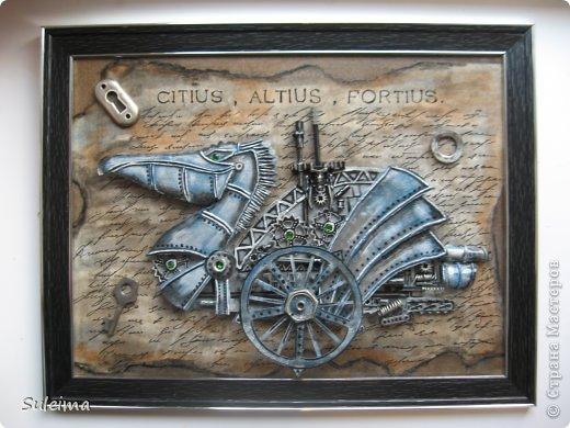 Картина панно рисунок Аппликация Ассамбляж Стимпанк Пеликан Картон фото 1
