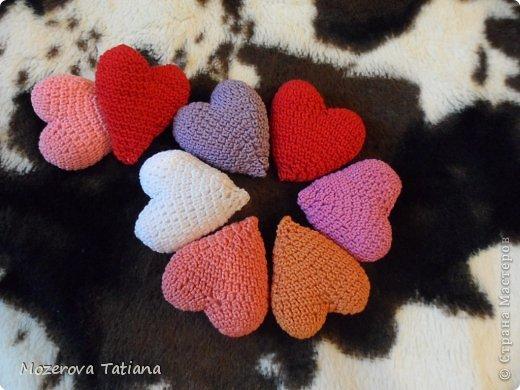 Вязание крючком Сердечки