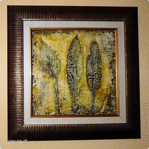Картина панно рисунок Праздник осени Гравировка Лепка Отпечатки листьев Картина Листья из сада в технике отпечатка Глина Гуашь Листья фото 9