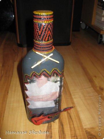 Подарок своими руками на день рождения брату из бутылки декупаж 17