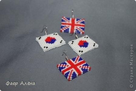 """Привет, жители СМ! Мне заказали серьги в виде флага Англии для любительницы этой страны. Т.к. я не """"дружу"""" с полимерной глиной, начала искать другие варианты. И вбив в поиске, нашла) Идея отсюда http://fotki.yandex.ru/users/nataplacebo/view/236542/?page=0 Спасибо автору! фото 8"""
