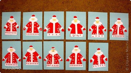 К Новому году сделали много работ с детьми. Такие открытки – в подарок родителям. фото 17