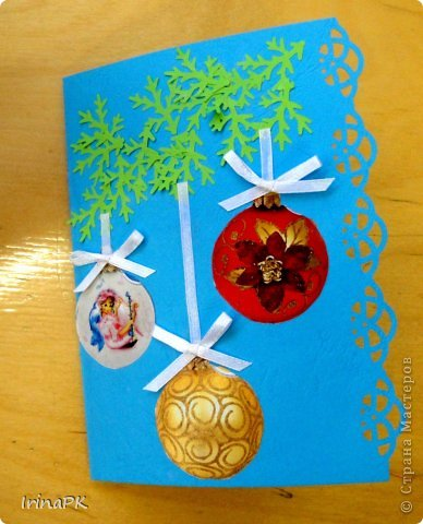К Новому году сделали много работ с детьми. Такие открытки – в подарок родителям. фото 4