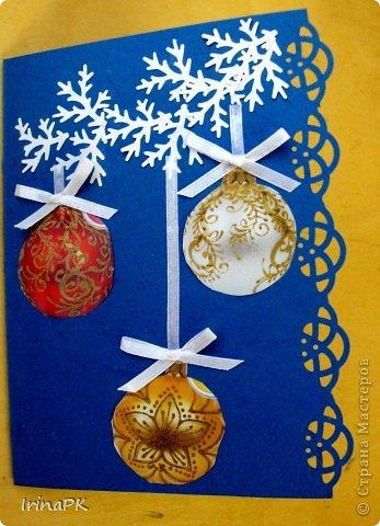 К Новому году сделали много работ с детьми. Такие открытки – в подарок родителям. фото 3
