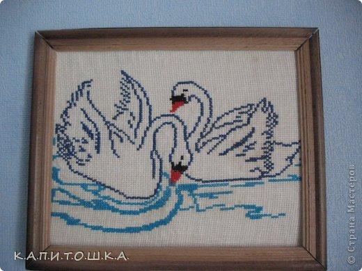Лебеди вышитые Нитки Ткань