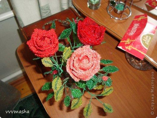 Поделка изделие Бисероплетение Цветы из бисера Бисер Нитки Проволока фото 1.