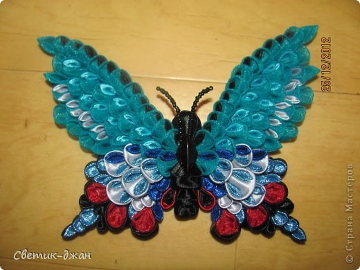 Бабочки в стиле канзаши мастер класс фото