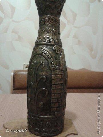 Поделка изделие Лепка Бронзовая ваза не МК просто рассказ с картинками Бутылки стеклянные Тесто соленое фото 1