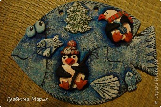Поделка изделие Лепка Первая рыбка Тесто соленое фото 1