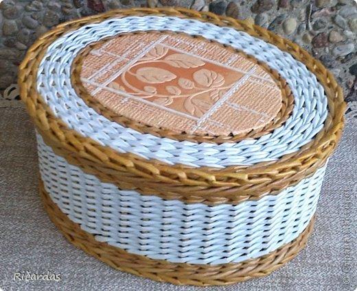 Мастер-класс Поделка изделие Плетение Послойное плетение как я заканчиваю плетение Бумага газетная Картон Трубочки бумажные фото 11