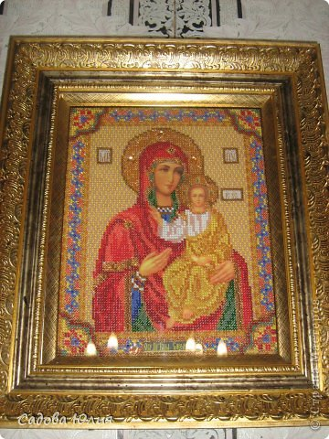 Картина панно рисунок День рождения Вышивка Икона вышитая бисером Смоленская Богородица Бисер Нитки фото 2.
