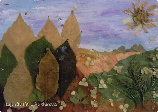 Картина панно рисунок Праздник осени Аппликация флористика Осенний пейзаж Материал природный фото 1