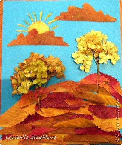 Картина панно рисунок Праздник осени Аппликация флористика Осенний пейзаж Материал природный фото 11