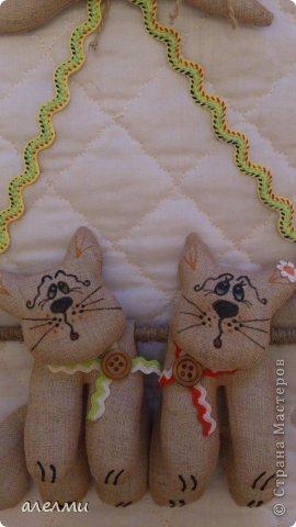 Ждать гостей так утомительно! Приходите!!!!! Мы всегда рады!!!!!! Сшиты из льна. Размер котиков 14 см., а размер всей подвески 33 см. фото 6