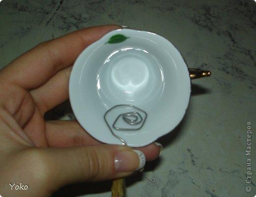Поделка изделие Моделирование Летающая чашка+мини МК Клей Кофе Проволока Продукты пищевые фото 7