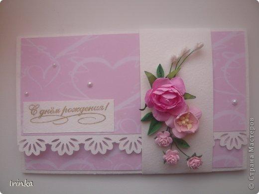Конверт для денежки нужно было сделать по-быстренькому, поэтому цветы брала готовые, сегодня отправится к имениннице......
