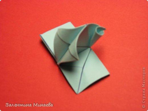 Я уже показывала эту кусудаму. Теперь предлагаю вам МК этих синих крученых цветов. В основе - кусудама Stern var., автор Paolo Bascetta, 30 модулей, размер бумаги 8,5 х 8,5 см Для цветов необходимо 60 модулей, у меня размер бумаги 7,0 х 7,0 см, в итоге кусудама получается 12,5 см в диаметре.  Автор модульных цветов - Валентина Минаева (Valentina Minayeva) фото 27
