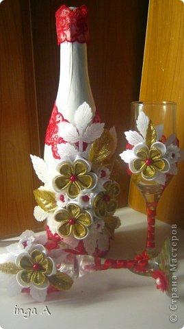 Бутылки своими руками канзаши