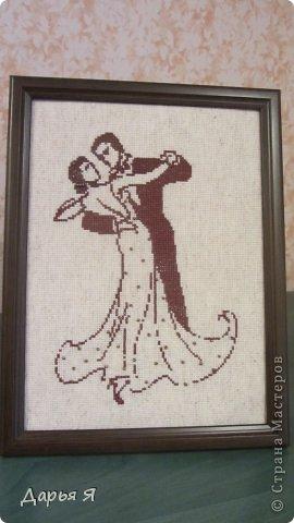 Нужно было сделать за 2 !!! дня подарок с изображением мужчины и женщины. Родилась такая вышивка-монохром фото 1