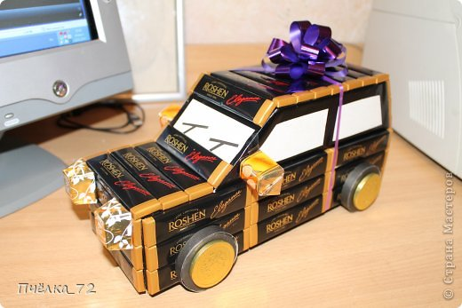 Машинка из конфет своими руками схема