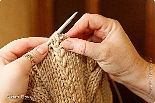 Вязание лицевой петли с протяжкой 35