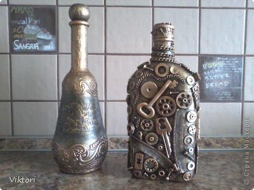 Декор предметов Стимпанк Бутылки стеклянные Краска Металл фото 1