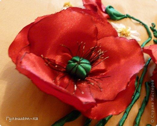 Картина панно рисунок День рождения Вышивка Цумами Канзаши Букет для свекрови-2 Ленты Ткань фото 2.